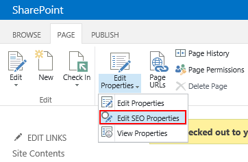 SharePoint 2013 Edit SEO Properties ribbon menu item